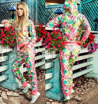 jumpsuit adidas hoodie sweater tracksuit zip tracksuit bottoms jumper floral floral pants floral print jacket flowers sportswear sporty chic toms roses