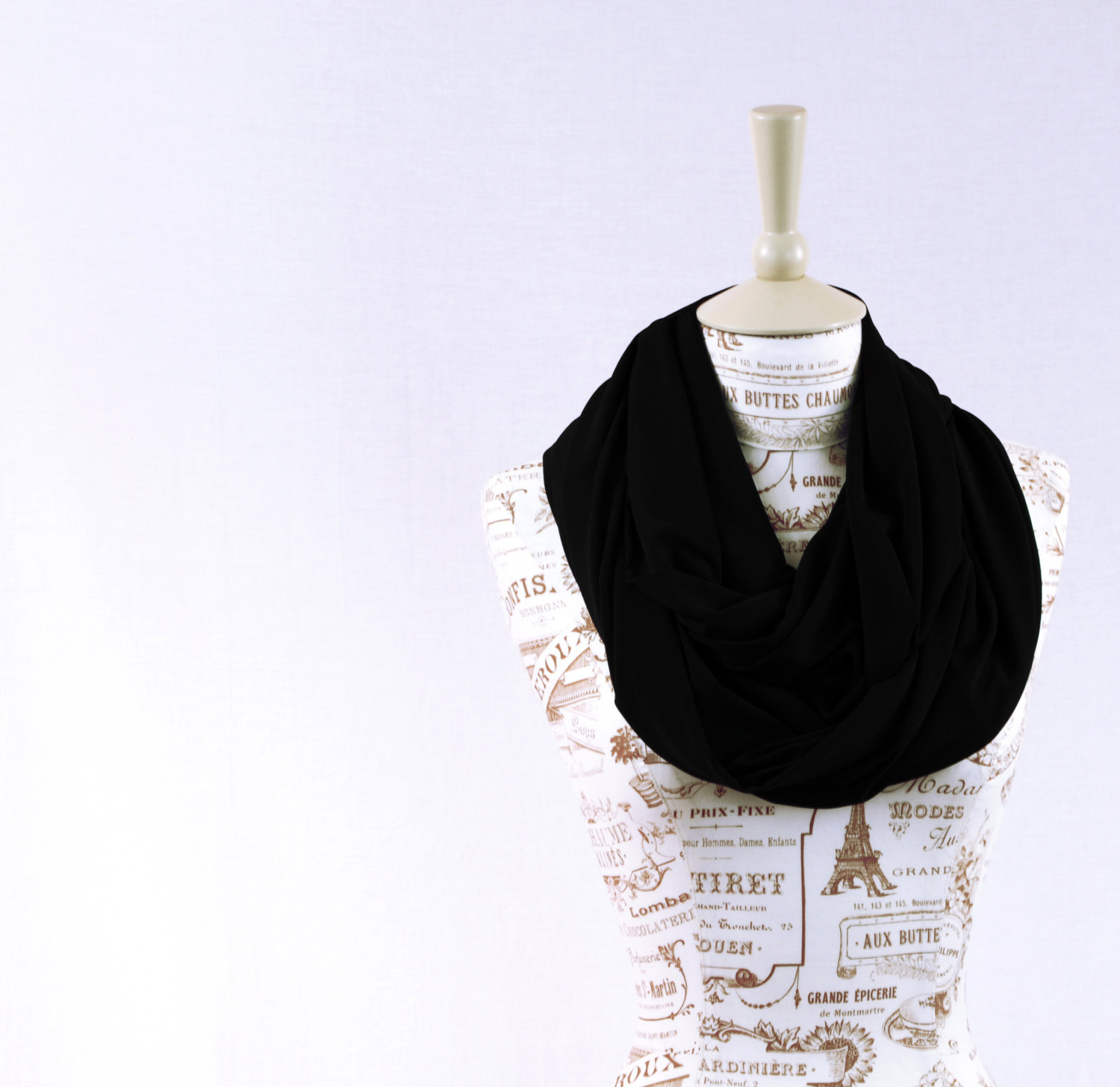 Black Infinity Scarf Jersey Circle Noir Long Wide Jet Circle Loop Eternity Trend Basic