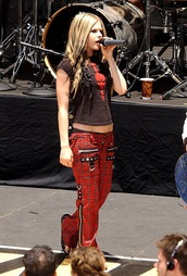 jeans,red plaid,black,goth,rock,avril lavigne