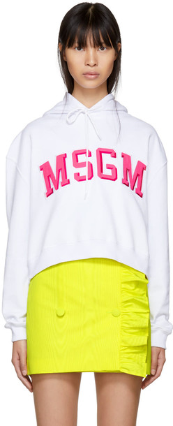 MSGM hoodie college cropped white sweater