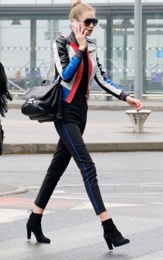 jacket model off-duty gigi hadid pants top fall outfits shoes