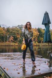 not jess fashion,blogger,jacket,shoes,bag,sunglasses,yellow bag,cropped jacket,turtleneck,joggers,handbag,round bag,ankle boots,high heels boots,round sunglasses