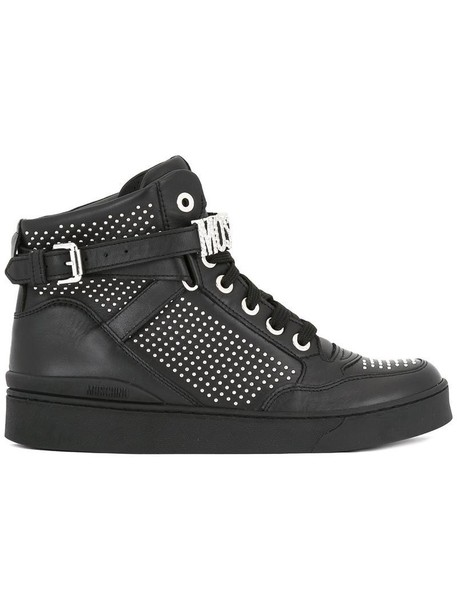 Moschino metal women embellished sneakers leather black shoes