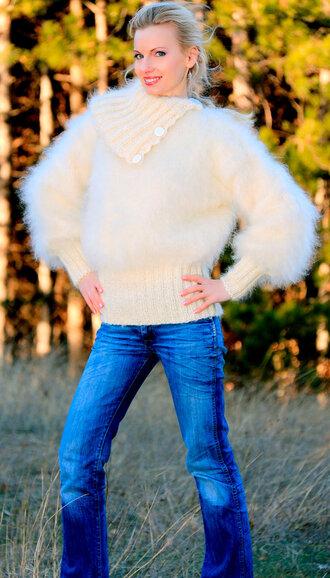 sweater hand knit made mohair jumper blouse supertanya angora cashmere alpaca wool soft fluffy