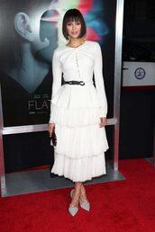 dress,white,white dress,ruffle,ruffle dress,long sleeve dress,midi dress,pumps,nina dobrev,shoes