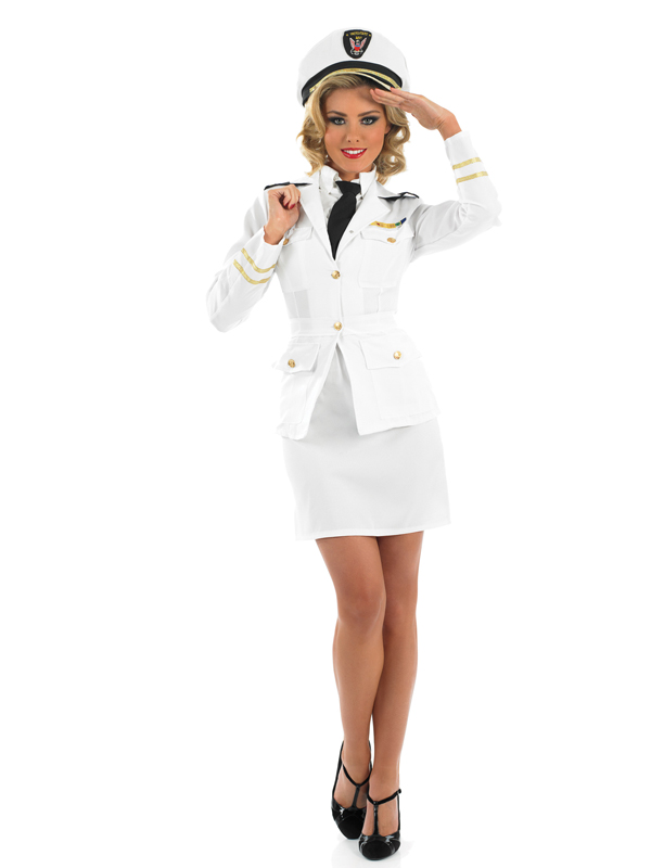 Ladies Naval Army Officer Fancy Dress Costume 40s 1940s WW2 Military Outfit | Amazing Shoes UK
