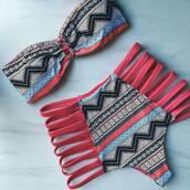 swimwear,fashion,bikini,pink,triangl,instagram,aztec,swimwear two piece,swimwear printed,patterned swimwear,bikini top,bikini bottoms,high waisted bikini,sexy bikini,bandeau swimsuit,cut-out swimsuit,caged swimsuit