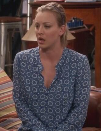 blouse blue and white print big bang theory kaley cuoco