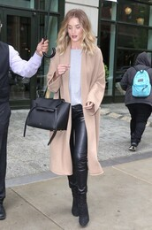 coat,top,rosie huntington-whiteley,ankle boots,spring outfits,shoes,grey top,leather pants,black bag,leather leggings
