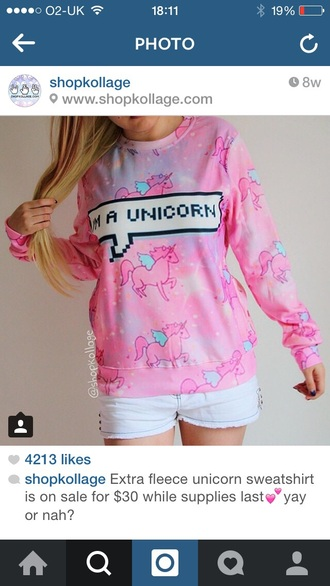 sweater i am a unicorn jumper pink