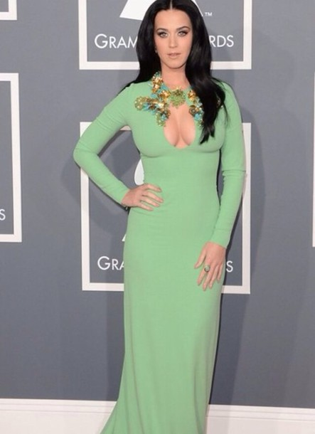 Dress: mint dress, katy perry, green dress, grammys, gucci, long ...