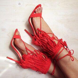 shoes coral fringes suede lace up boho bohemian coachella festival gojane