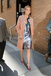 dress,asymmetrical,blake lively,pumps,coat,shoes
