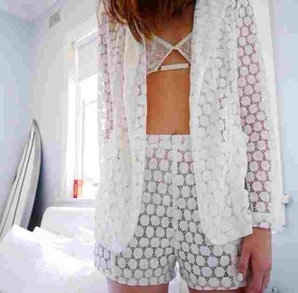 coat underwear jacket blouse white lace bra shorts transparent suit tank top white jacket white bralette white shorts sheer white bra blazer girl summer sun hair white lace nail polish beach rose gold swimwear bikini cardigan high waisted shorts mesh pajamas crochet