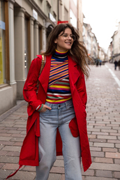 the fashion fraction,blogger,coat,sweater,jeans,bag,shoes,red coat,spring outfits,shoulder bag,multicolor,trench coat,striped jumper,striped sweater