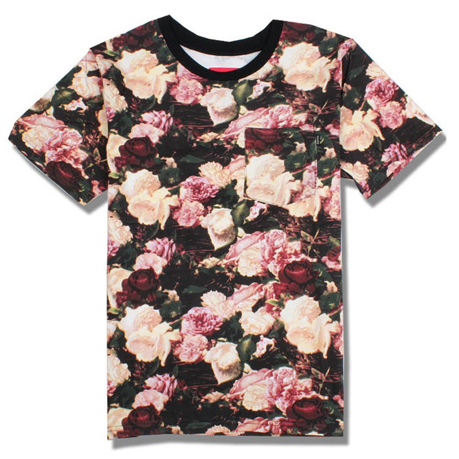 Women Rose Flower Print T Shirt (S) at Amazon Women's Clothing store: