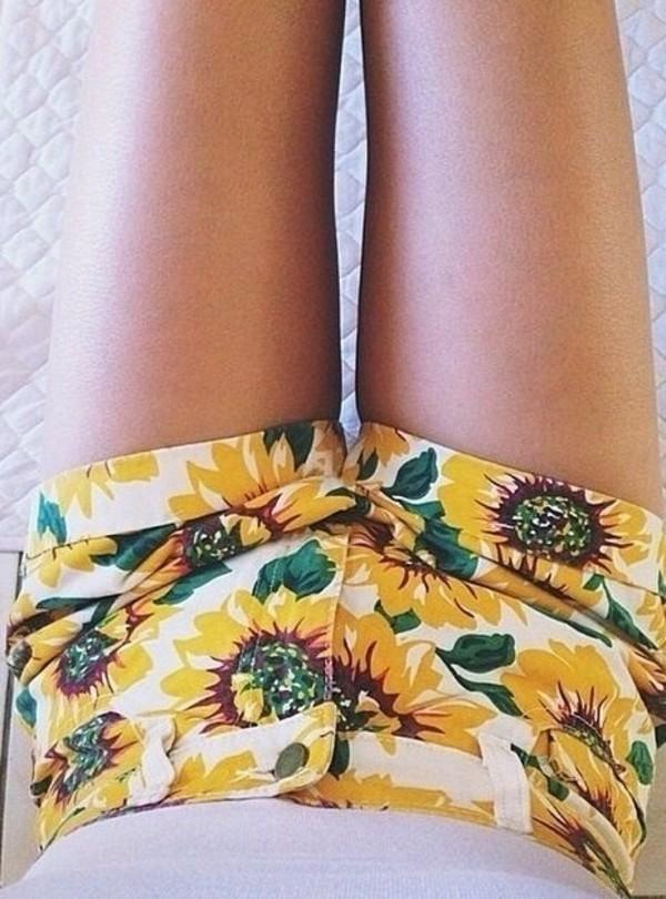 shorts shorts high waisted ying yang tie dye sunflower shorts daisy yellow high waisted denim