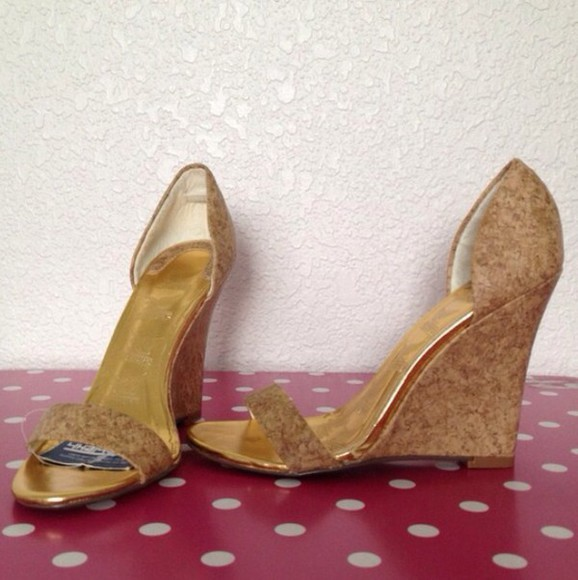 high heels cork natural wedges brown shoes