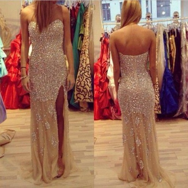 dress glitter dress long evening dress gold sequins open leg