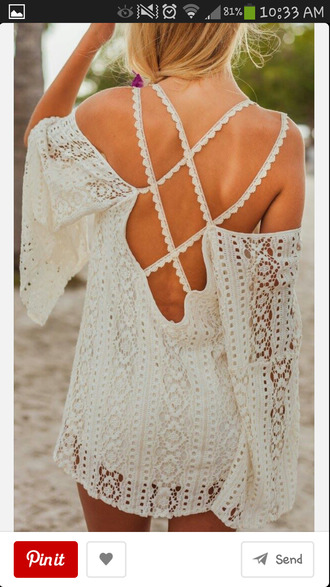 dress crochet white crisscross minidress