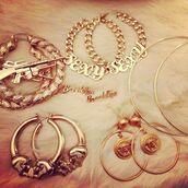jewels,gold,earrings,sexy,machine gun earrings,hoop earrings