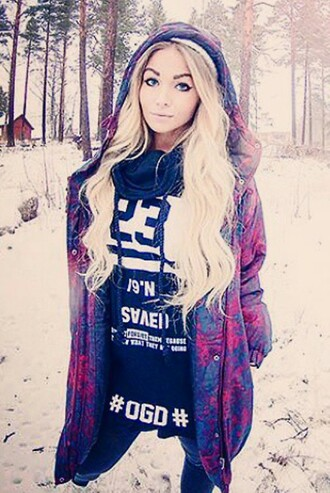coat barbie winter coat winter jacket winter swag blonde hair colorful purple make-up sweater
