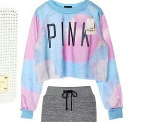 sweater pink blue cropped long sleeves teenagers pastel fashion style trendy cute boogzel girl girly girly wishlist crop crop tops cropped sweater cotton candy crop sweatshirt
