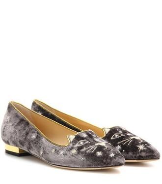 slippers velvet grey shoes