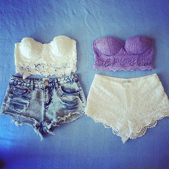 black lace crop tops top corset top white shorts lilac denim strapless