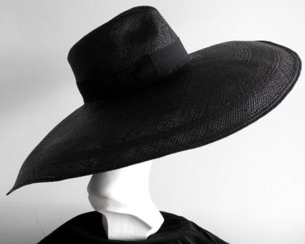 black hat black wide brim hat black wide brim fedora black summerhat  summerhat wide brim hat 9bd88914cb5