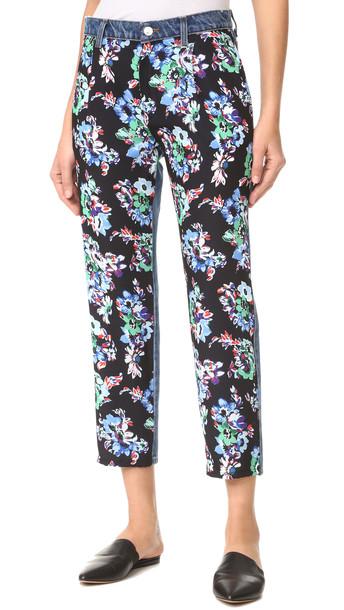 Msgm Floral Front Jeans - Dark Wash