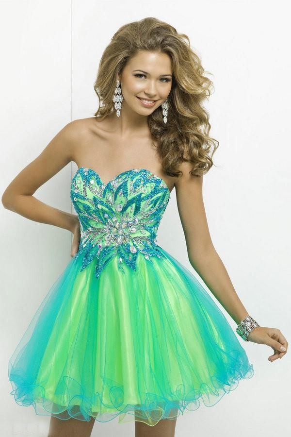 Short Prom Dress 2015 Sweetheart Neck Custom Made Open Back Lime ...