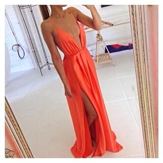 orange maxi dress maxidress with splits