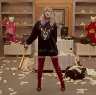 sweater hoodie sweatshirt boots velvet over the knee boots taylor swift music video shoes over the knee boots