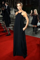 dress,maxi dress,black dress,gown,victoria beckham,red carpet dress,celebrity style,celebrity