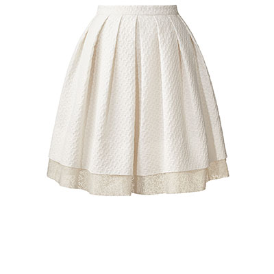 Orla Kiely | UK | Clothing | Skirts | Textured Flower Jacquard Pleated Skirt (14SWTFL634) | Chalk