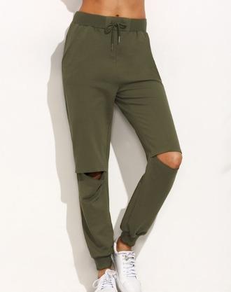 pants olive green khaki joggers ripped joggers pants