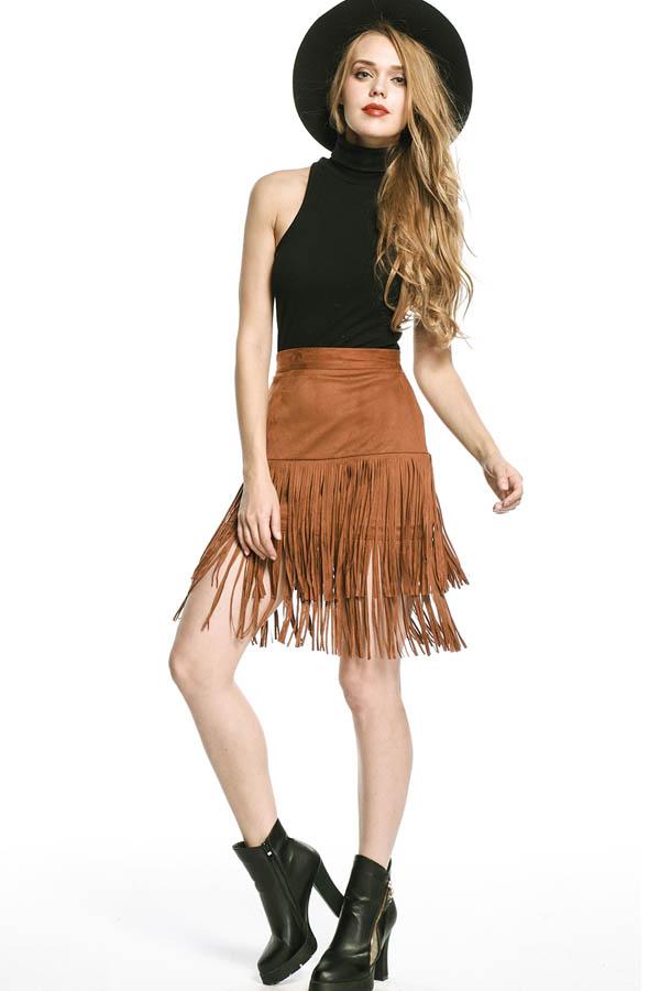 Brown Fringe Detail High Waist Stylish Skirt