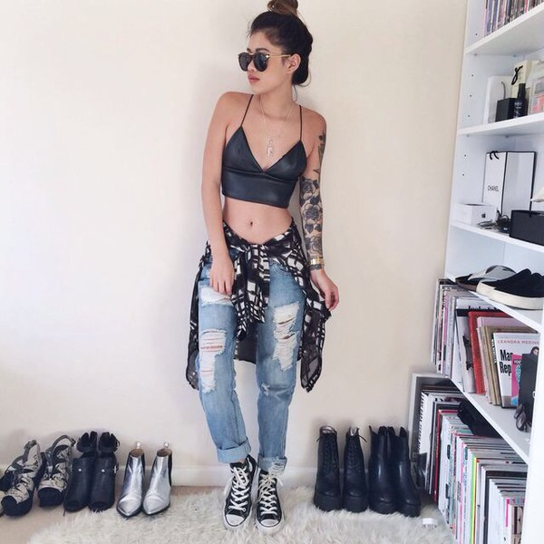 top jeans ripped blouse sunglasses