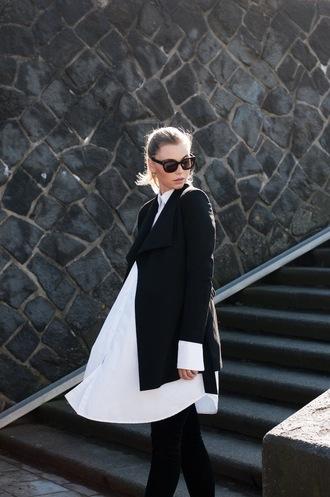 by vh blogger white shirt shirt dress black jacket black sunglasses