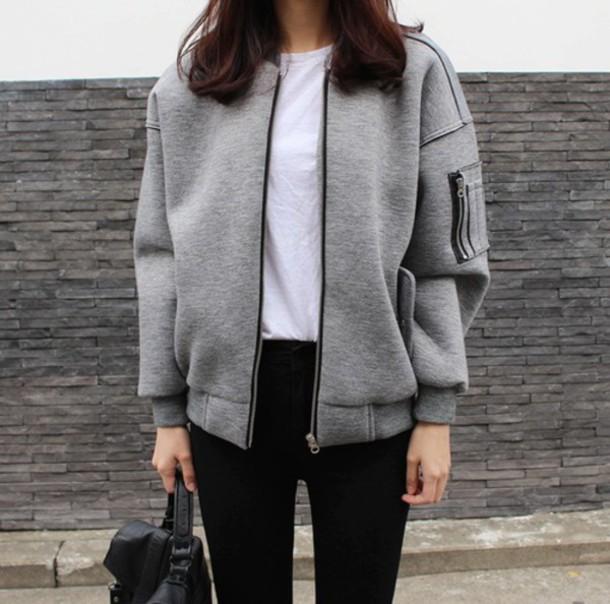 jacket, gray coat, grey, baseball jacket, i don't know ...