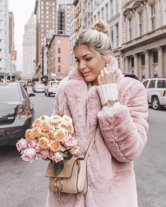 jewels ted baker watch gold watch coat pink coat fur coat flowers bag nude bag accessory accessories