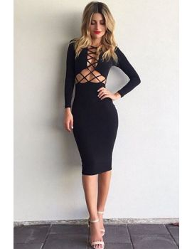 03286c535cf Women's Waist hollow Long Sleeves Elegant Mini Dress