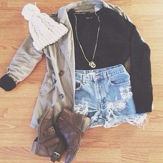coat hat jewels shoes shorts sweater