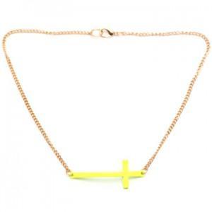 Womens small sideway cross necklace crucifix crux ladies