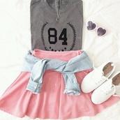 jacket,socks,skater skirt,light pink