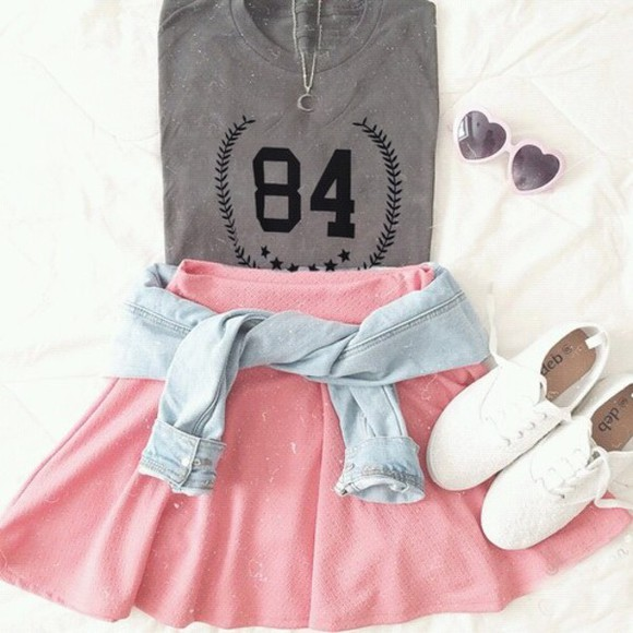 light pink jacket socks skater skirt