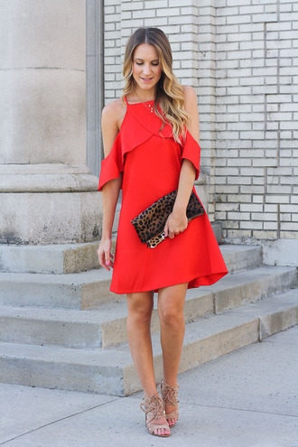 twenties girl style blogger dress shoes bag jewels red dress clutch animal print mini dress off the shoulder lace up lace up heels nude nude heels