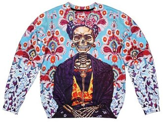 frida frida kahlo skeleton illustration blue colorful women sweater sweatshirt printed sweater all over print tumblr clothes tumblr sweater