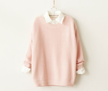 Sweet cute women pullovers sweater,autumn winter 2014 new arrival long sleeve kintted loose plus size women girl sweaters,casual